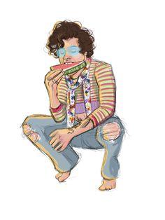 Harry Styles Cute, Harry Styles Pictures, Harry Edward Styles, Desenho Harry Styles, One Direction Fan Art, Harry Styles Drawing, Harry 1d, Harry Styles Wallpaper, Cute Drawings