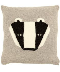 Grey badger lambswool cushion from the Donna Wilson collection.