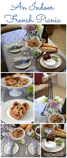 An Indoor French Picnic - food, wine, and chocolate chip palmiers! Perfect for an indoor date night. www.crazyforcrust.com #French #picnic
