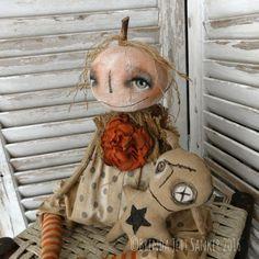 OOAK DOLL Primitive Folk Art Pumpkin Halloween by brendasanker