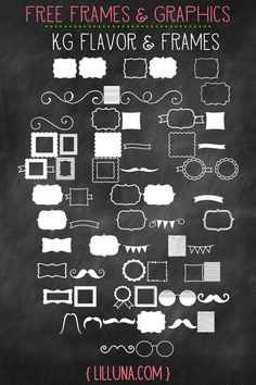 "Free Frames and Graphics ~ This is a font called a ""dingbat""  which uses shapes and/or symbols instead of the letters or numbers.  You will want to copy the ""key"" when you download the font, so you know what will appear in place of each letter and number."