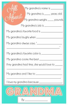 Cupcake Diaries: Mother's Day Questionnaire {A FREE Printable for the Kids! Mom And Grandma, Grandma Gifts, Mom Gifts, Mothers Day Crafts, Mother Day Gifts, Cupcake Diaries, Mother's Day Printables, All About Mom, Kid Cupcakes