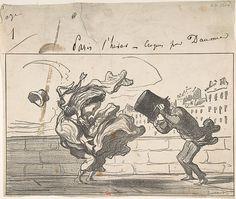 Honoré Daumier (French, 1808–1879). Croquis d'Hiver...Un Coup de Vent non Prédit par Mathieu (de la Drôme), December 3, 1864. The Metropolitan Museum of Art, New York. Harris Brisbane Dick Fund, 1939 (39.45.1) #paris