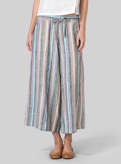 Linen Full Elastic Wide Leg Pants - Create a magical look, from the office to an evening out, in these stunning cropped pants.