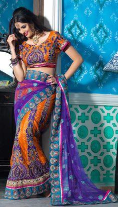 Indian Fabric is absolutely beautiful! $89.93 Purple and Orange Resham Work A Line Lehenga Saree 22434