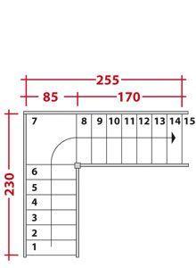 encombrement d'un escalier en L avec palier intermédiaire
