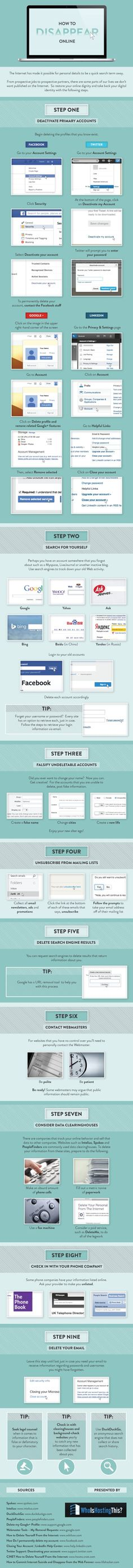 Want To Disappear Online? Here Is Your Infographic! Have you ever wanted to disappear online? Check out this infographic to discover how to remove your private life and information from the Internet. Always good to know Marketing Digital, Marketing Online, Facebook Marketing, Web 2.0, Le Web, Onpage Seo, How To Disappear, Web Social, Digital Footprint