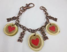 Hand painted Wood Charm Bracelet with LOVE by Unfeather by Robyn, $14.00
