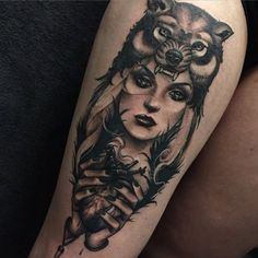 Tatuaje brutal de Madeleine Hoogkamer @ Oneness Studio, Tilburg, The Netherlands Tattoos 3d, Taurus Tattoos, Head Tattoos, Trendy Tattoos, Body Art Tattoos, Sleeve Tattoos, Wolf Tattoo Design, Design Tattoos, Wolf Tattoo Traditional