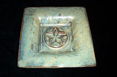 Small slab stoneware star dish, red gold under pattern blue glaze.  Private Collection  Original Art. (KiteStar Studio - Carolyn Coffey Wallace)