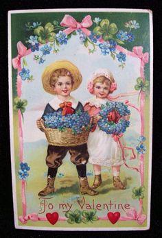 Vintage Valentine's Day Flowers Children Hearts My Sweet Valentine, Kinder Valentines, Valentine Images, Valentines Greetings, My Funny Valentine, Vintage Valentine Cards, Vintage Greeting Cards, Valentine Day Cards, Vintage Postcards