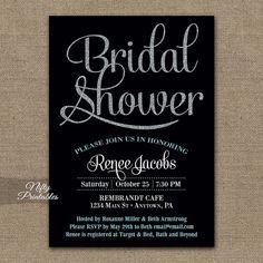 Hey, I found this really awesome Etsy listing at https://www.etsy.com/listing/186795160/black-bridal-shower-invitations-black