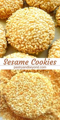 Sesame Cookies-These delicious sesame cookies are crunchy and melt-in-mouth! If you are a sesame lover, you'll love these toasted sesame seed cookies! #sesame #sesameseeds #cookies #recipes Recipe on pastryandbeyond.com with step by step pictures.