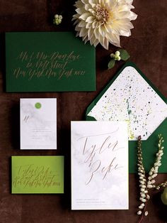 A marble design is the perfect canvas for romantic copper calligraphy and lime edging, which is wonderfully complemented by a patterned envelope liner. Make it colorful, yet sophisticated, so your guests know it's going to be a party.