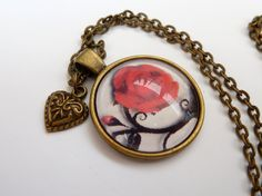 Lovely  necklace with red rose in 3D optics flower by Schmucktruhe, €18.50