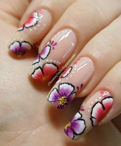 Pink and Purple Flower Nail Art by ~aipe on deviantART