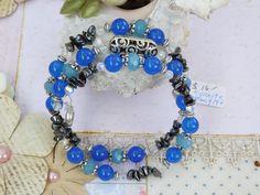 Bracelet Memory Wired w/ Blue Kyanite, Hematite, Aquamarine stones by…
