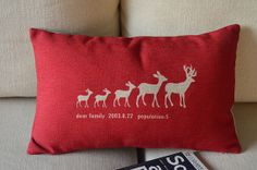 1 handmade linen cotton  red color five deers family by linxge, $18.00
