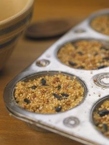Homemade suets. Details: Combine one part peanut butter, two parts birdseed, and five parts cornmeal to each part melted beef suet (available in the meat section of your grocery store). Press the mixture into muffin tins. Let harden. Drop a suet cake into a net bag and hang from a tree branch.