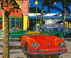 わたせ Illustration Pop Art, Landscape Illustration, Vaporwave Art, Japanese Drawings, Mobile Art, Naive Art, Car Painting, Retro Art, Car Drawings