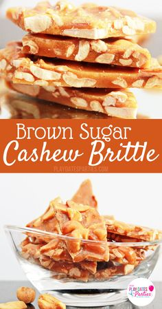 Brown Sugar Cashew Brittle: If you like peanut brittle, you will LOVE this for brown sugar cashew brittle. It is perfectly crunchy and sweet, with amazing hints of toffee and vanilla. Perfect for the or any special occasion. Candy Recipes, Sweet Recipes, Holiday Recipes, Dessert Recipes, Nut Recipes, Sangria Recipes, Homemade Toffee, Homemade Candies, Homemade Peanut Brittle