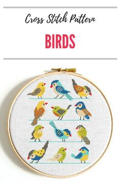Cactus cross stitch pattern Cactus plants Birds cross stitch Modern cross stitch Succulent counted cross stitch Easy cross stitch Discount #crossstitch #embroidery #patterns #instantdownload #ad #birds