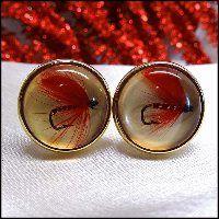 Vintage Cufflinks Krementz Red Fly Fishing Lures 1950s Mens Jewelry
