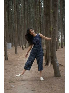 Blue Ikat Jumpsuit from the house of Threeness. Featuring a simple and elegant blue an Casual Indian Fashion, Look Fashion, 70s Fashion, Trendy Fashion, Korean Fashion, Kurta Designs Women, Blouse Designs, Teen Fashion Outfits, Fashion Dresses