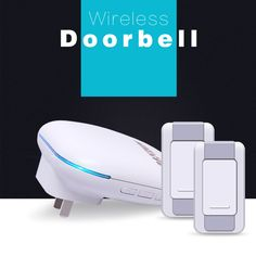 DAYTECH Wireless Doorbell Chime Kit WaterProof Door Bell Chimes with LED Night Light , 2 Buttons 1 Plugin Receiver, Outdoor Transmitter for Home/office/shop 500-Feet, White … (2 Buttons + 1 Receiver)