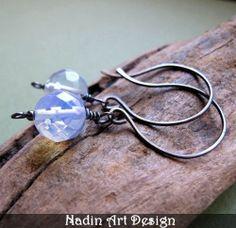 Black Earrings with Moonstone. Oxidized Silver from NadinArtDesign by DaWanda.com