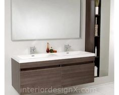 Fresca Senza Double Largo Modern Bathroom Vanity Set With Mirror I Loooove This Look But Big Drawers Instead Of Doors And A Lighter Finish Maybe