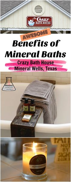 Awesome benefits of mineral baths. Plus a unique old-fashioned bath house experience at the Crazy Bath House in Mineral Wells, Tx on chemistrycachet.com