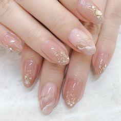 Acrylic Nails Nude, Almond Acrylic Nails, Gel Nails, Chic Nails, Stylish Nails, Elegant Nails, Chic Nail Art, Art Deco Nails, Asian Nails