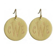 Fashion Gold Round Monogram Earrings - NEED these!!!