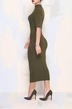 ITS A LONG WAY DOWN RIBBED DRESS (Olive)