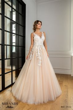 Rochia pune in evidenta, prin tullul nude, broderia cu perle, cusuta manual. The dress reveals, through the nude tull, the pearl embroidery, hand-sewn. Pearl Embroidery, Pune, Hand Sewn, Formal Dresses, Wedding Dresses, New Trends, Ball Gowns, Manual, Collection