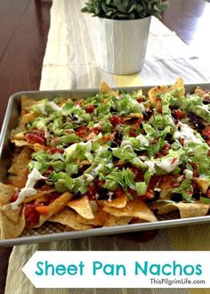 Sheet Pan Nachos are perfect for a quick easy weeknight dinner or Friday night movie snack! Kids and adults alike love nachos, and using a sheet pan makes it such an easy snack to make! Snacks To Make, Food To Make, Healthy Snacks, Healthy Recipes, Yummy Recipes, Eating Healthy, Vegetarian Recipes, Lunch Recipes, Mexican Food Recipes