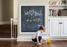 We had a lot of fun making a DIY magnetic chalkboard wall in our playroom for our boys. Here are some simple instructions to show you how it was done.