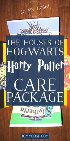 A Harry Potter themed care package with all of the houses of Hogwarts-- Hufflepuff, Ravenclaw, Gryffindor, and Slytherin. Comes with ideas of themed snacks and gifts, too.