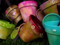 Large Painted Flower Pot - Custom Rustic-Vintage Look
