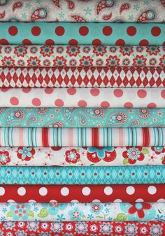 turquoise and red fabric