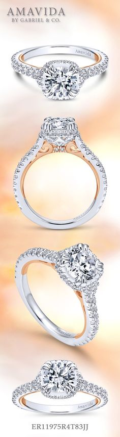 Gabriel & Co.-Voted #1 Most Preferred Fine Jewelry and Bridal Brand. - 18k White / Rose Gold Round Halo  Engagement Ring