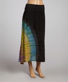 Look at this Black Fold-Over Maxi Skirt on #zulily today!