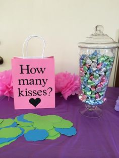 A quick Hershey Kiss decorating idea — How many kisses are in the jar?  It's a great game for a bridal shower! (Source: Media-Cache)