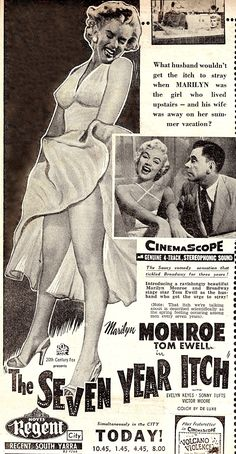 """""""The Seven Year Itch"""" - Marilyn Monroe and Tom Ewell. Original vintage press advert for a screening at Hoyts Regent Theatre, Melbourne, Victoria, Australia. Advert from The Herald newspaper, Thursday, October 12th 1955."""