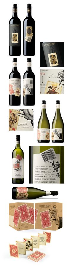 House-of-Cards wine labels. Great concept, die cuts and illustrations.