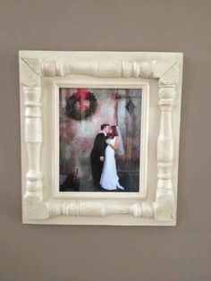 Distressed handmade picture frame -  100 yr old porch spindles. Great Gift Idea - For Nursery or Wedding Gift.