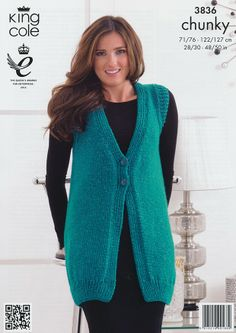Waistcoat and Cardigan in King Cole Glitz Chunky (3836) | Deramores