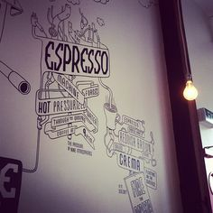 The process of getting heavenly goodness in a cup. Shakey Isles wall illustration. Britomart. Auckland.