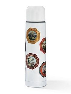 National Parks Thermal Flask, decorated with 1920s park visitor stickers. Cute and useful.